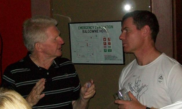 Noel Bone and Glen Smede converse with serious thought.